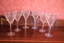 A good set of 6 unusual crystal Wines, probably Waterford 8'' (20cms). (6)
