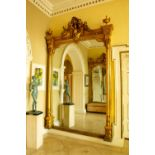 A magnificent large pair of 19th Century gilt and gesso Wall Mirrors, in the Neo-Classical style