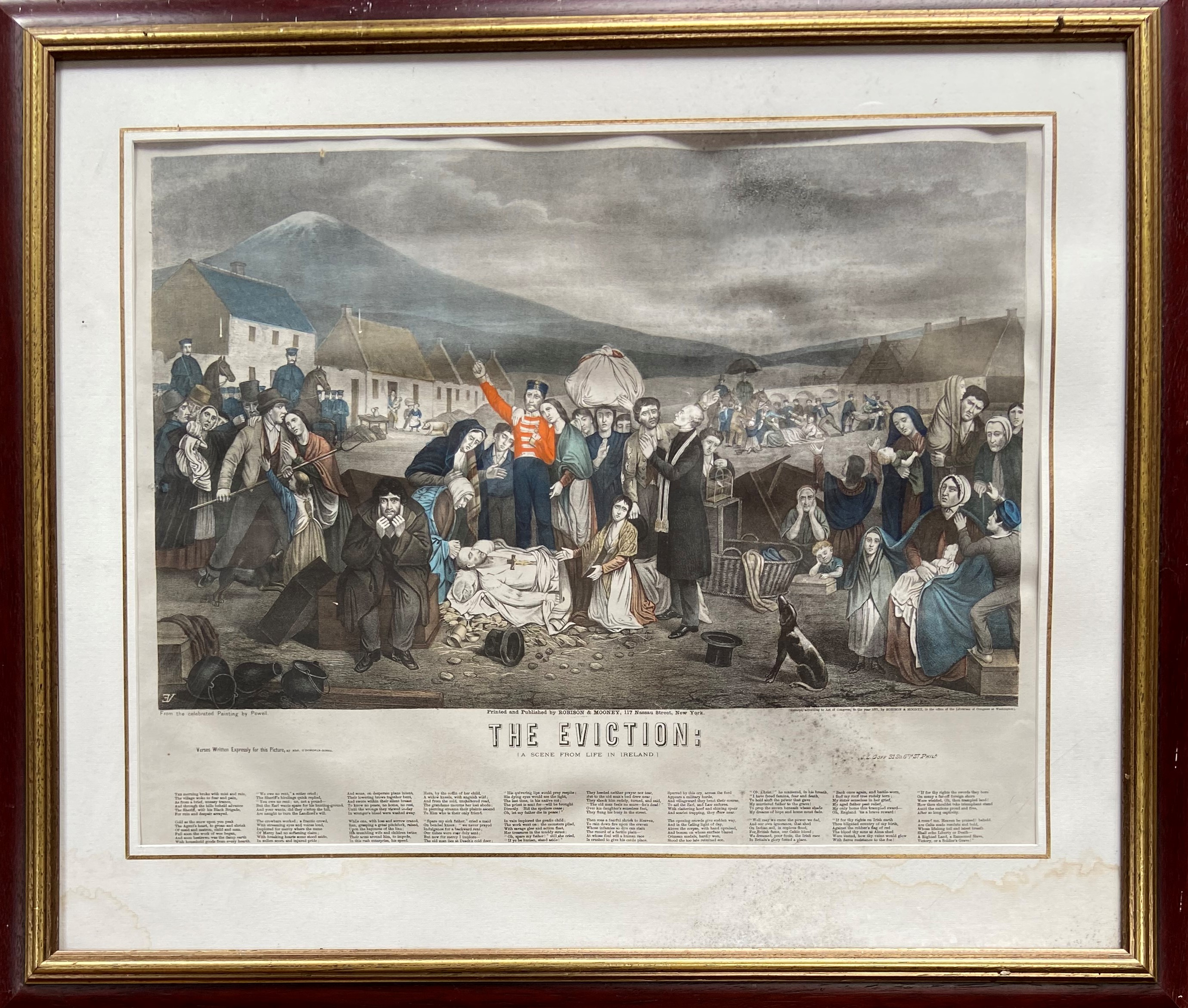 After Powell ''The Eviction'' (A Scene from Life in Ireland) a large coloured Engraving, 19'' x 24''