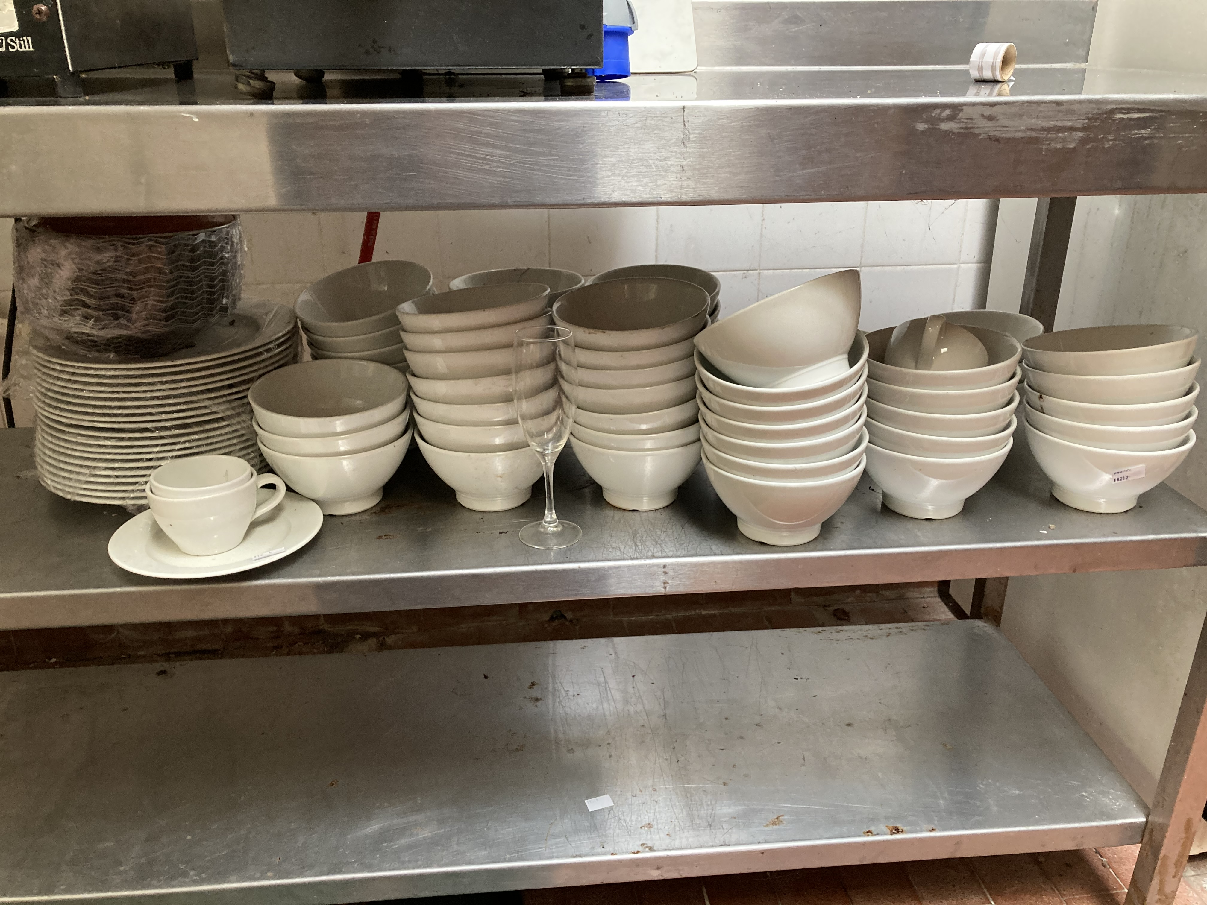 A very large quantity of white Restaurant Crockery, dinner plates, soup bowls, side plates, cups, - Image 2 of 4