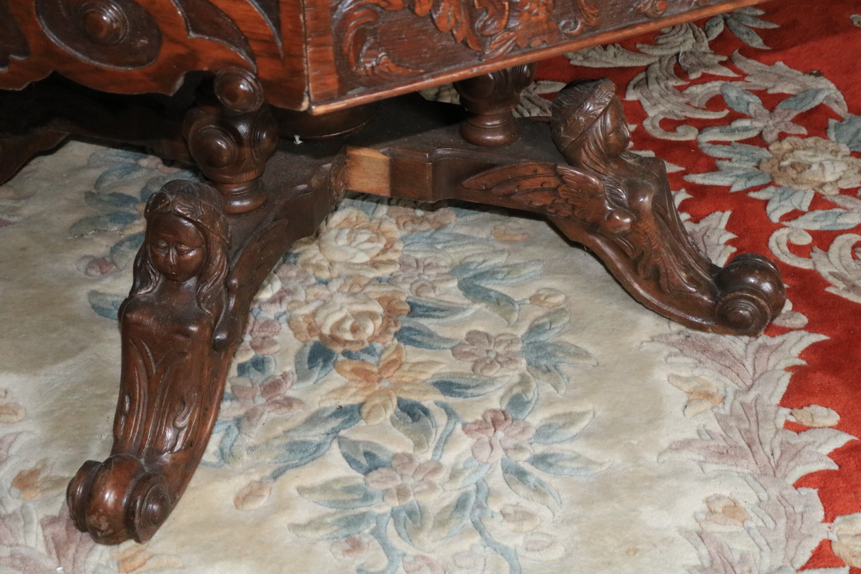 A Victorian carved oak Library Drum Table, with octagonal top above four mock and four frieze - Image 3 of 3