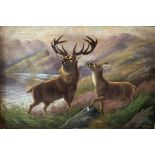 Robert Cleminson (Act. c. 1864-1903) ''Stag and Doe by a Highland Lough,'' O.O.C., 20'' x 30'' (