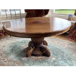 A large circular mahogany Breakfast Table, on reeded bulbous stem on a circular moulded base applied