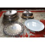 A large oval silver plated Meat Dish Cover, 19th Century, with leaf cast handle and border, 22'' (