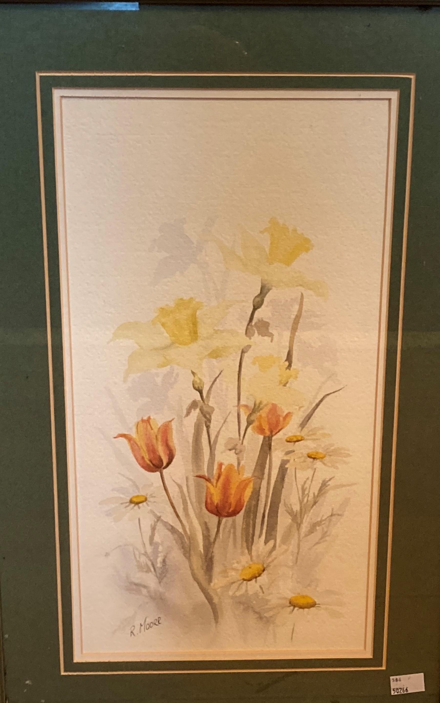 "Richard Moore, Irish School Watercolour:""Daffodils in Mountainous Landscape,"" approx. 18"" x"