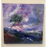 Ricardo Valbuena, Colombian(1960-2020) Abstract Painting ''Landscape'' 20'' (50cms) square. (1)