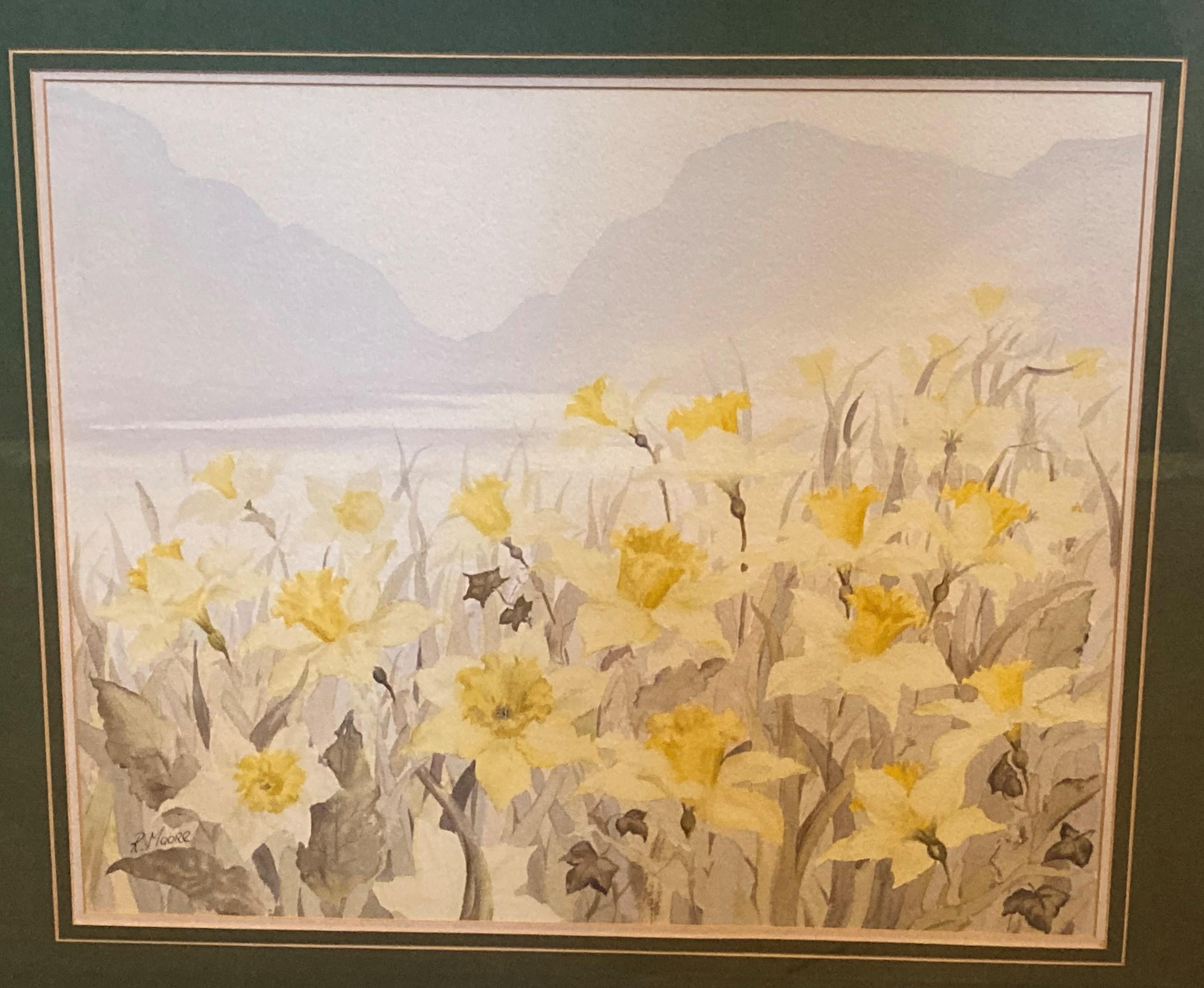 "Richard Moore, Irish School Watercolour:""Daffodils in Mountainous Landscape,"" approx. 18"" x - Image 2 of 2"