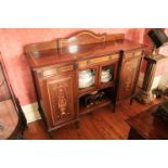 An Edwardian marquetry inlaid and satinwood banded mahogany Side Cabinet, of inverted breakfront