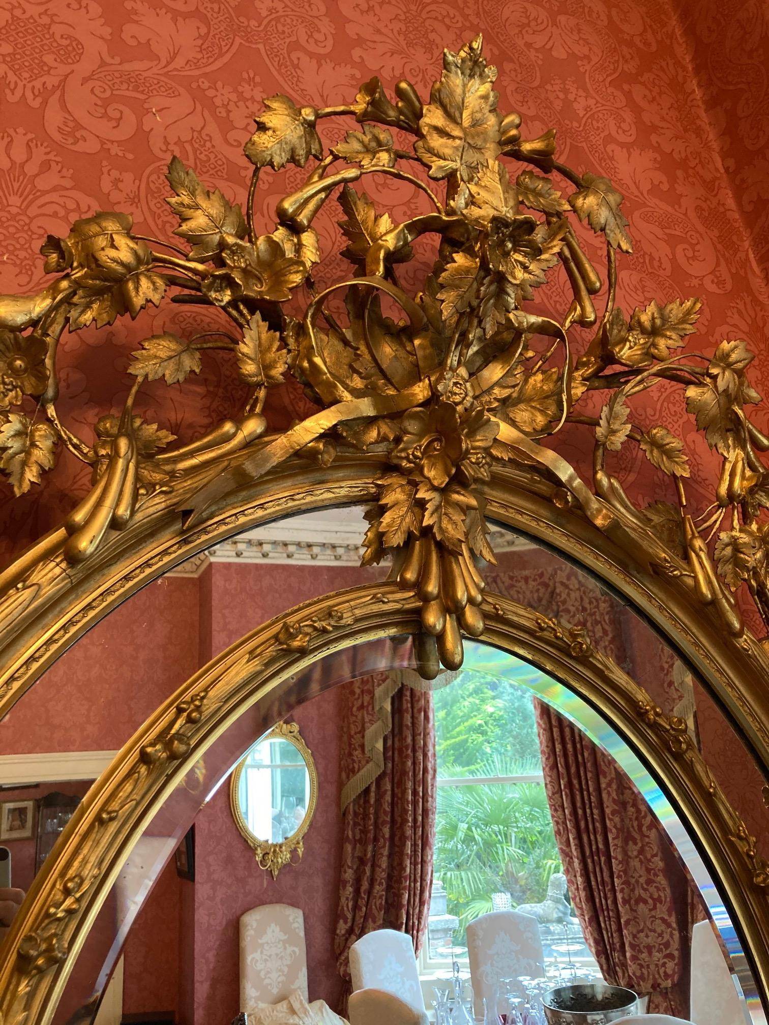 A superb large 19th Century oval gilt Wall Mirror, the ornate crest with scrolling foliage and - Image 3 of 7