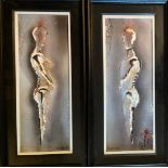 Tony Mc Grath 21st Century Pair of Abstract ''Portraits'' in relief, mixed media, 17'' x 6'' (43cms