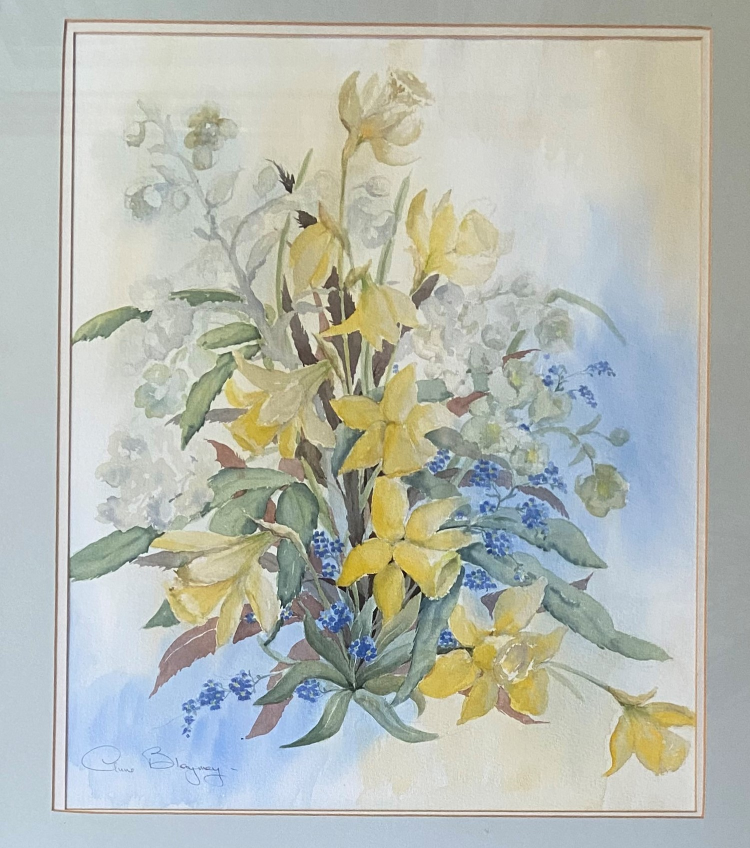 Anne Blayney- 20th Century Watercolour, ''Spring Flowers,'' signed and inscribed, 21'' x 18'' (53cms