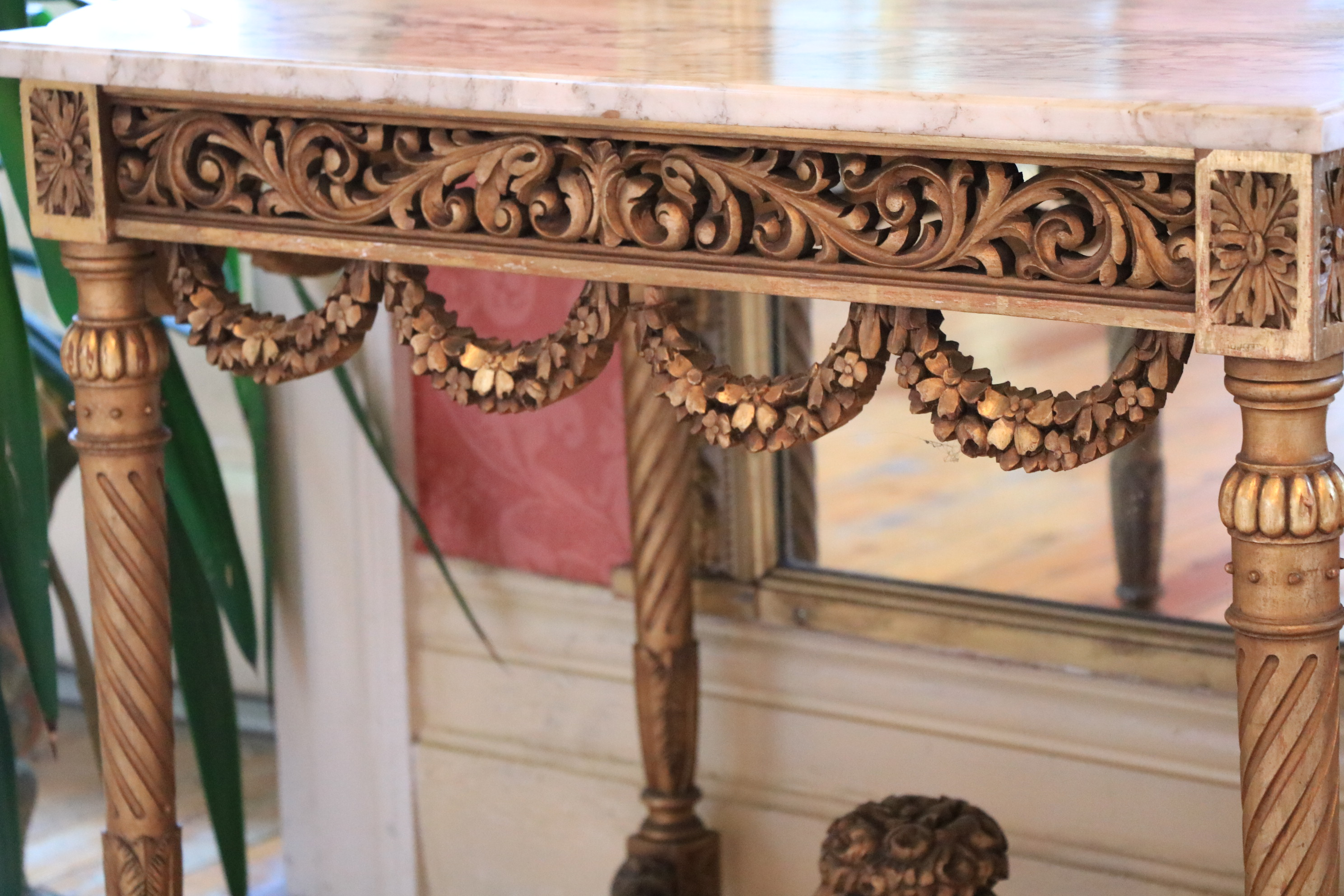 A French giltwood Centre Table, with white veined marble top with bowed ends above a pierced and - Image 3 of 9
