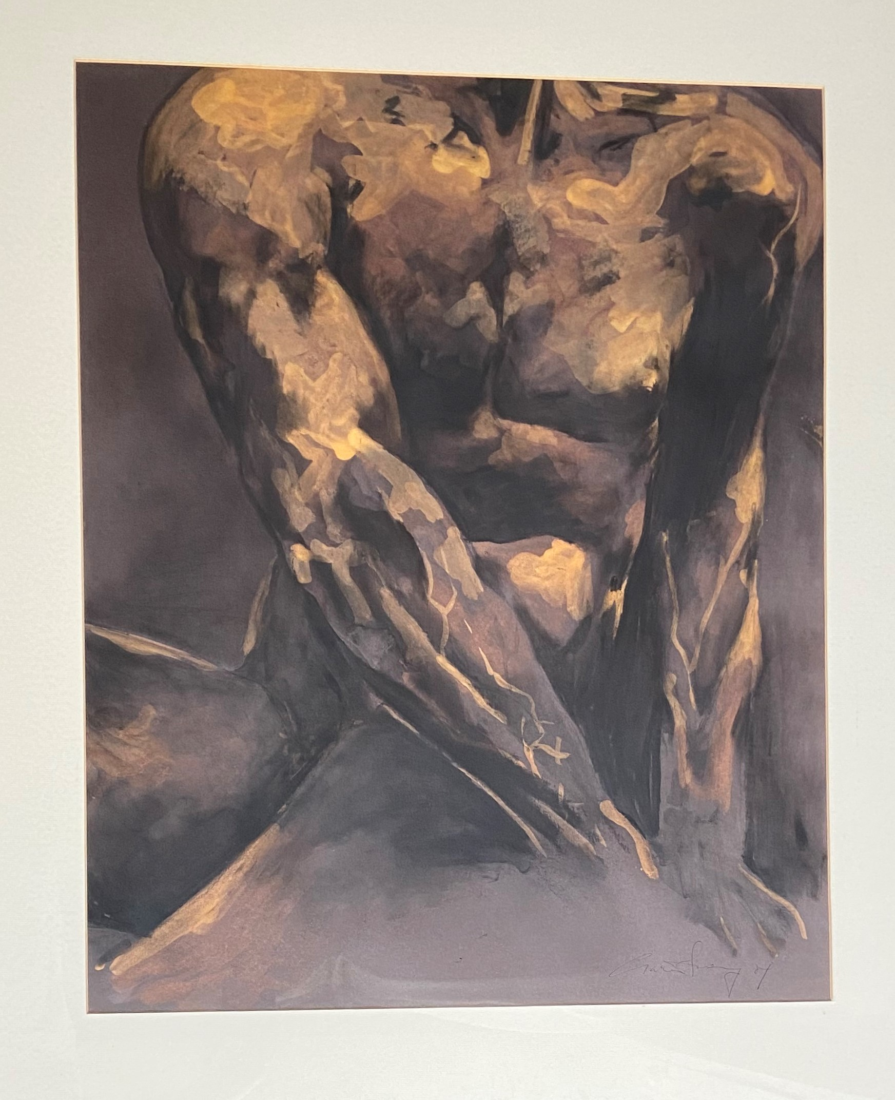 Ciaran Sweeney, 21st Century Watercolour, ''Male Torso'' indistinctly signed, 28 1/2'' x 22 1/2'' (