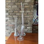 Two tall Art Glass Flower Vases, 40'' (102cms), and another plain glass Trumpet shaped Vase, 14'' (