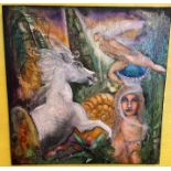 John Shaltz,Irish, 20th Century ''Abstract Fairy Tales,'' a set of 4, O.O.C., signed and dated,