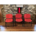 A set of 20 good modern Office or Banquet Stacking Chairs, with red padded seat and back on metal