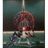 "Claudio Viscardi, Irish b. 1955 ""Abstract, Spherical Blast,"" O.O.C., approx. 84"" x 72"" (214cms x"