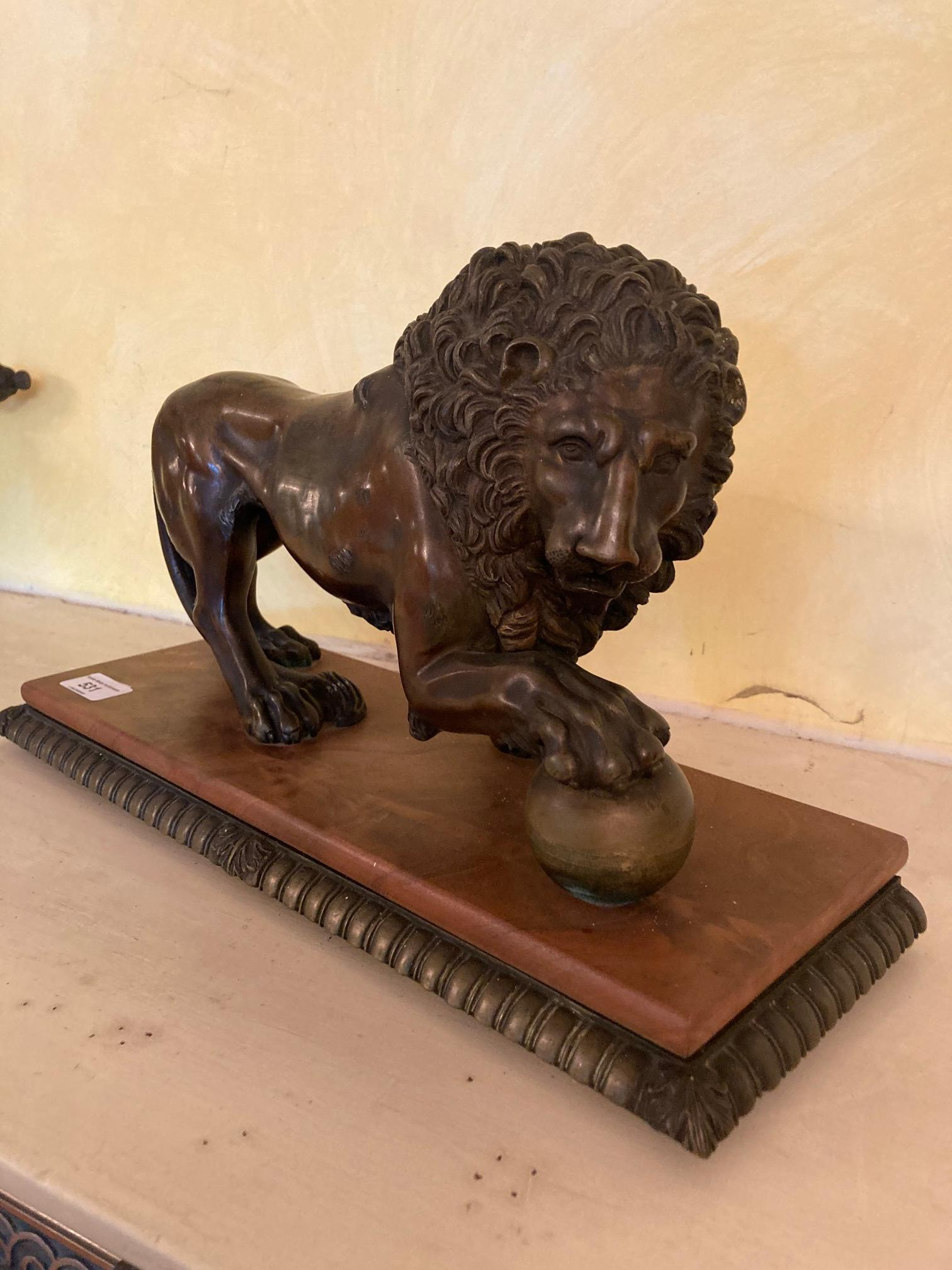 A bronze Figure of a Medici Lion, with right front paw on a sphere, on bronze and wooden base, - Image 2 of 6