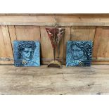 A pair of composition relief moulded Portrait Heads, male and female in bronze finish, 12'' (