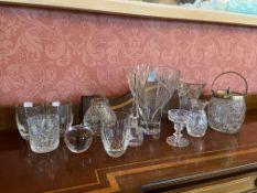 A Louise Kennedy Tipperary Crystal Presentation Vase, 10'' (25cms), a flared crystal Vase, 7 1/