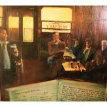 J. Spill, 1994 Large Dublin Pub Interior Scene, with James Joyce, Nora Barnacle, G. Bernard Shaw,