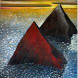 Modern Irish School Abstract, ''Twin Ocean Peaks,'' O.O.C., 36'' (92cms) square. (1)