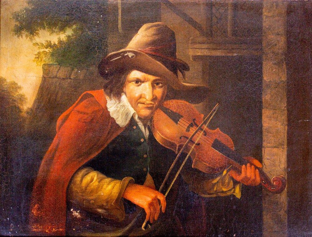 Early 19th Century Dutch School ''The Travelling Fiddler,'' O.O.C. 18'' x 23'' (46cms x 58cms). (1)