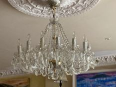 A set of 3 attractive glass Chandeliers, with fifteen glass arms and a vase shaped stem issuing