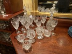 A fine pair of heavy crystal glass Decanters, probably Waterford, each with facet cut neck rings and