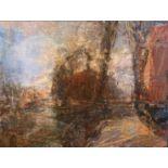 "Alexander Shishkin, Russian ""Harbour, St. Petersburg,"" O.O.C., approx. 23"" x 31"" (58cms x 79cms),"