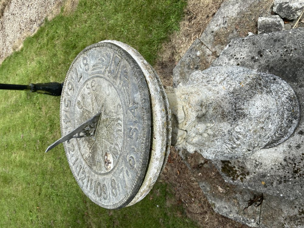 An attractive compositionbulbous shaped Sundial, the circular lead dial over a main body - Image 2 of 5