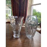 A fine large Waterford crystal Vase, with fluted body, 13'' (33cms) and another heavy glass Vase (