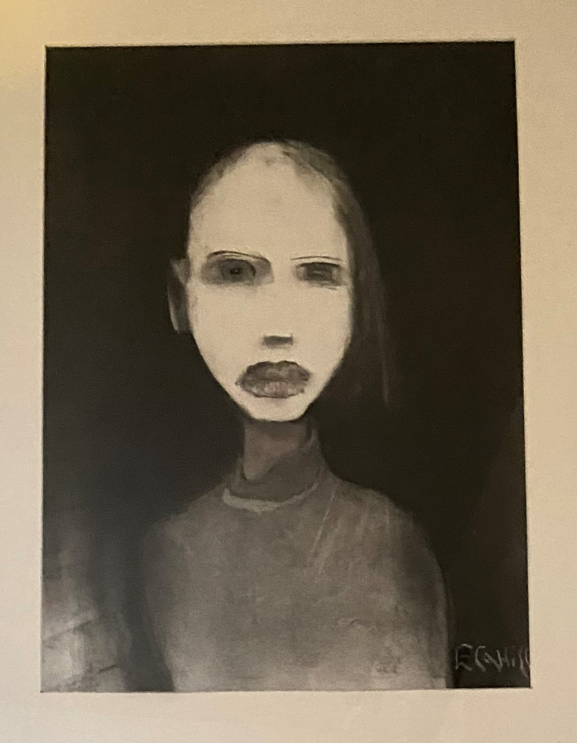 Eddie Cahill 1952 ''Girl with Pale Face,'' mixed media, 23'' x 17'' (58cms x 42cms). (1) * The