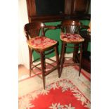 A set of 6 Bentwood tall Bar Stools, with arms and loose cushions. (6)