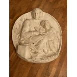 """An attractive plaster cast medallion shaped Plaque, depicting Madonna & Child, approx. 35"""" (89cms)"""