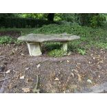 Two similar composition Garden Benches, with curved rectangular seat on two circular plinths,