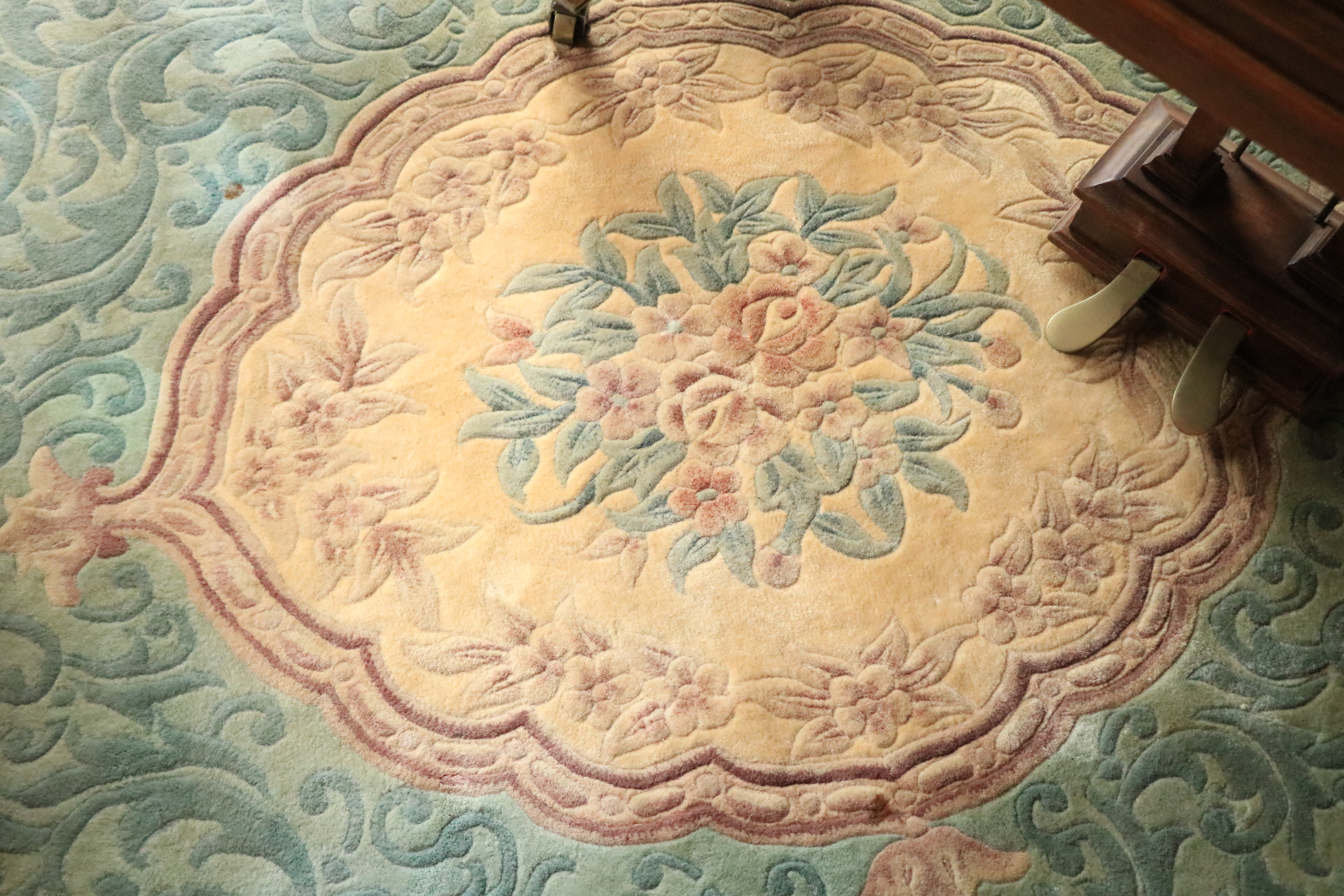 A Chinese Kayan Carpet, the lime green ground with central floral medallion inside a conforming - Image 3 of 4