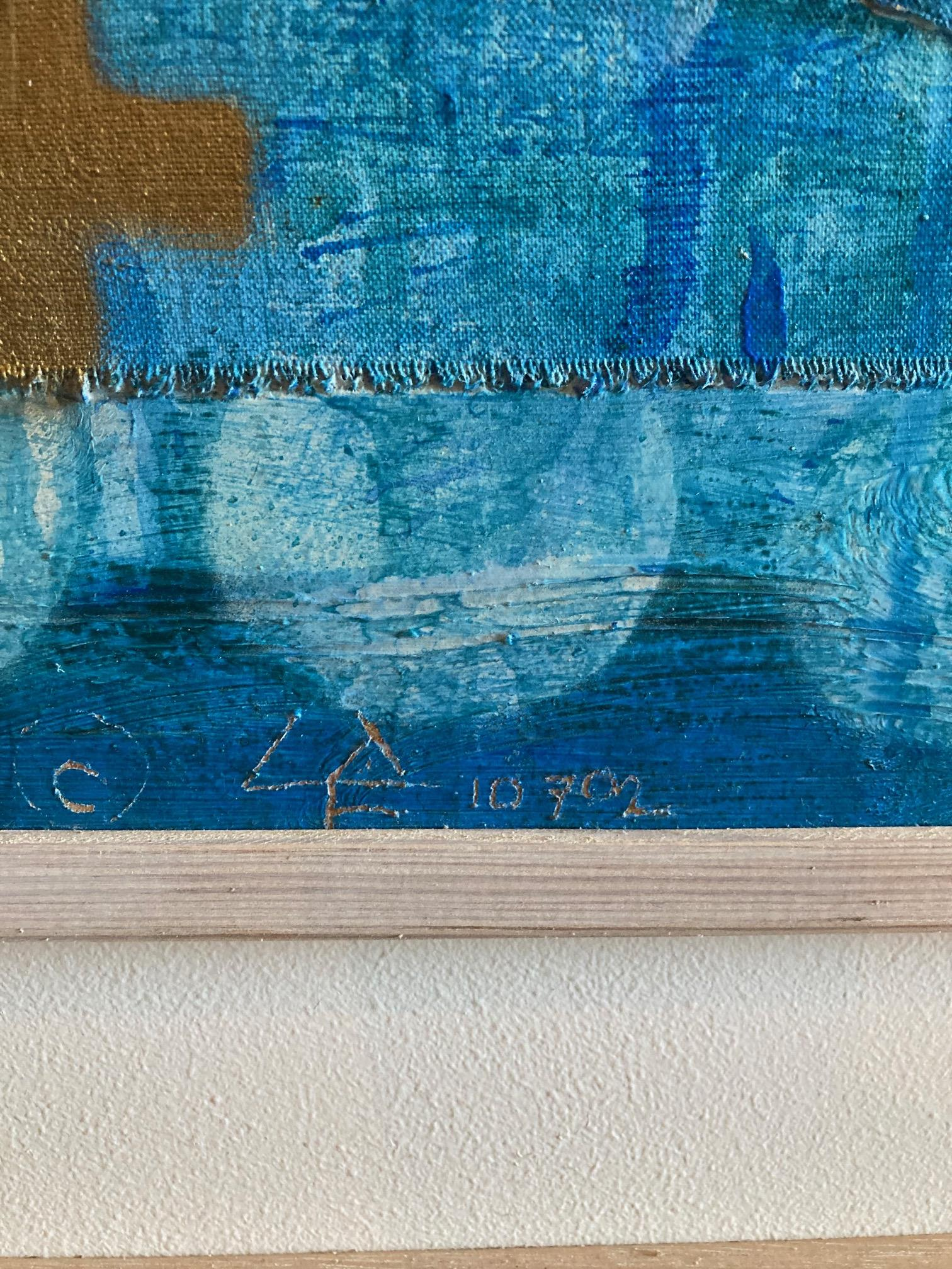 Liam de Fringe (1949) Mixed Media on Board, ''Abstract'' inscribed verso in Gaelic, 31'' x 47'' ( - Image 4 of 6