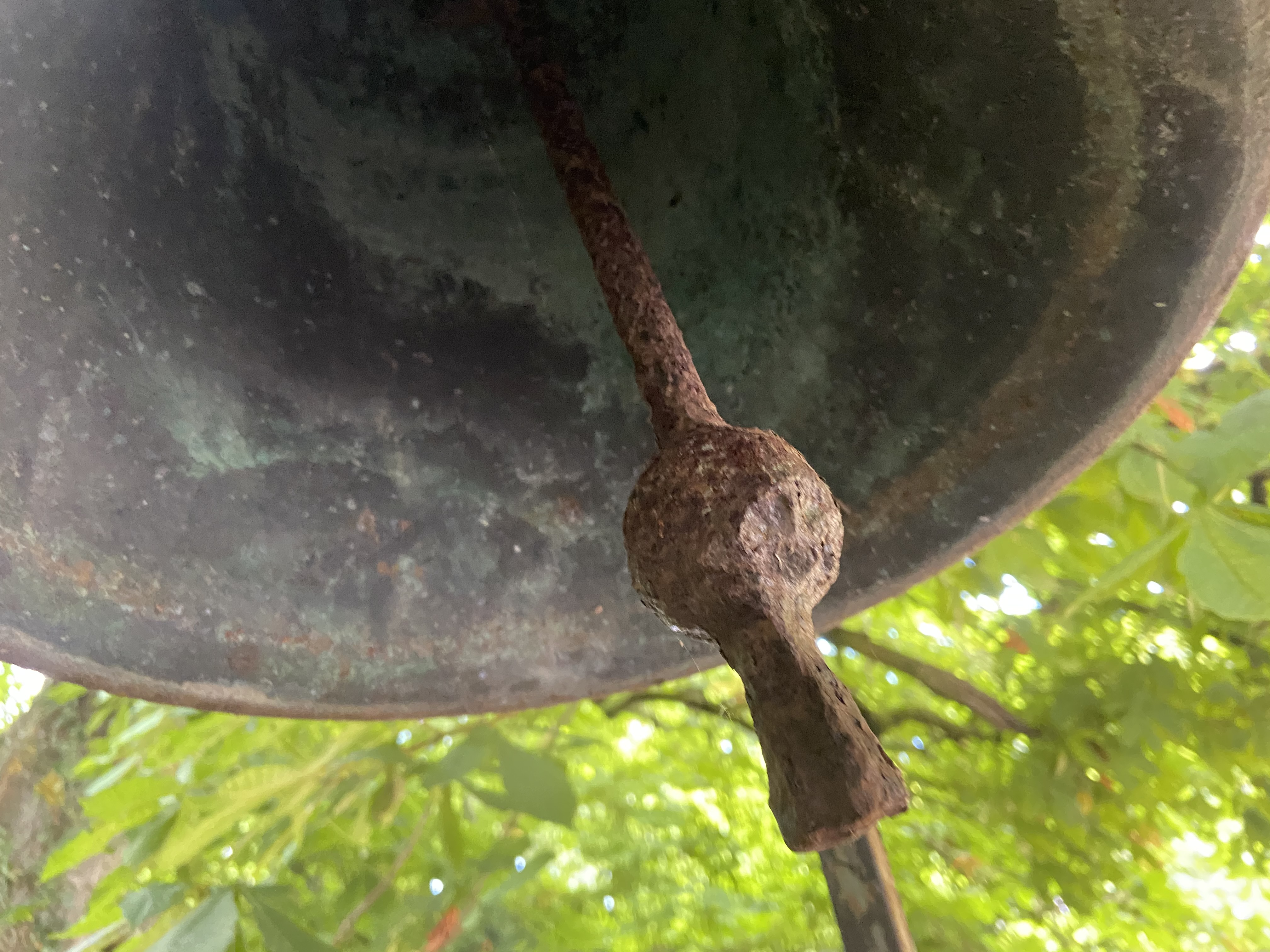 A very heavy Victorian cast bronze Yard Bell, by Warner & Sons London 1874, on later tall wrought - Image 5 of 5