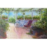 Harrie Mc Manus 20th Century ''The Conservatory with Bicycle and Deck Chair,'' signed, O.O.C.,