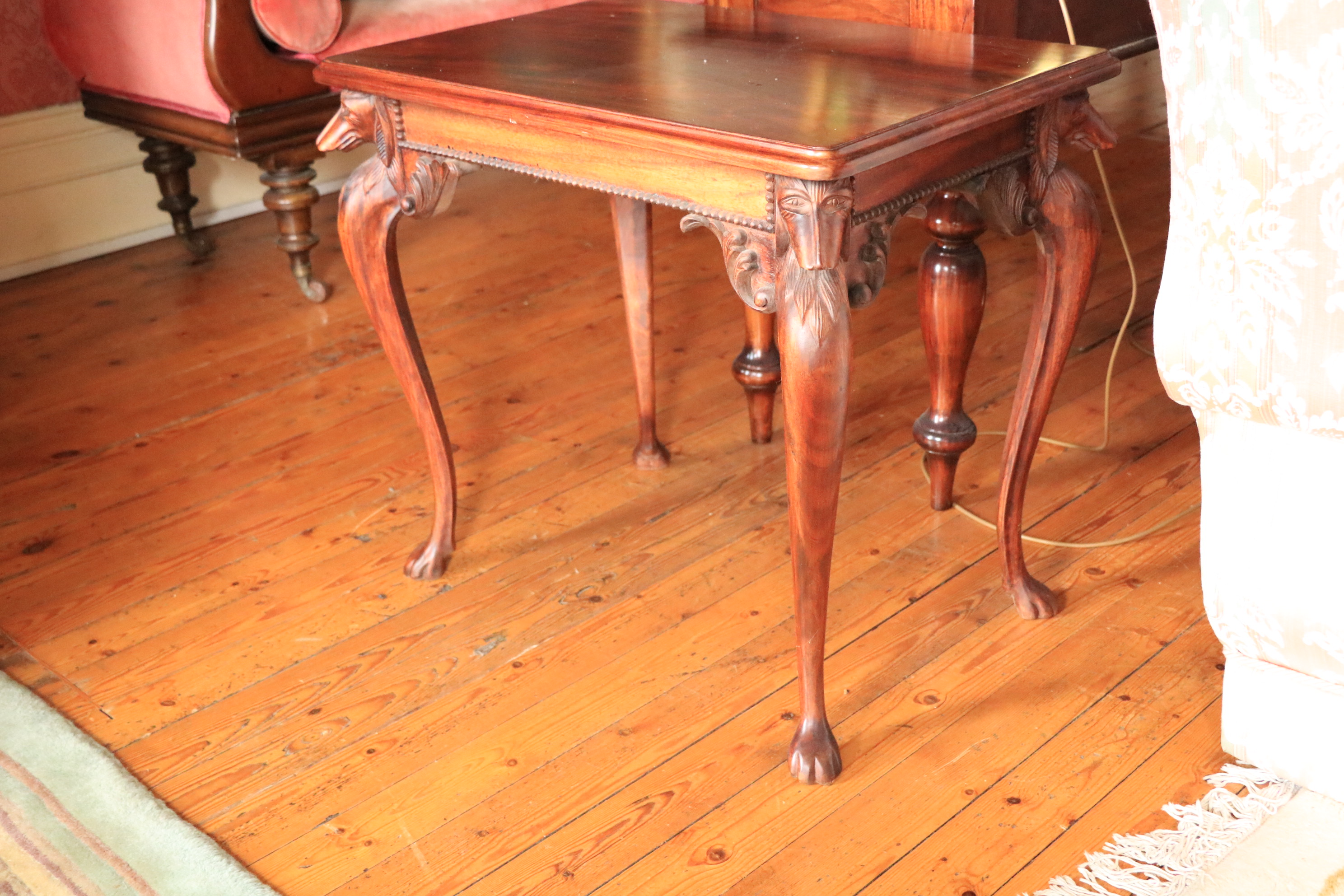 A rectangular mahogany Occasional Table, the moulded top above four greyhound heads on cabriole legs - Image 3 of 5