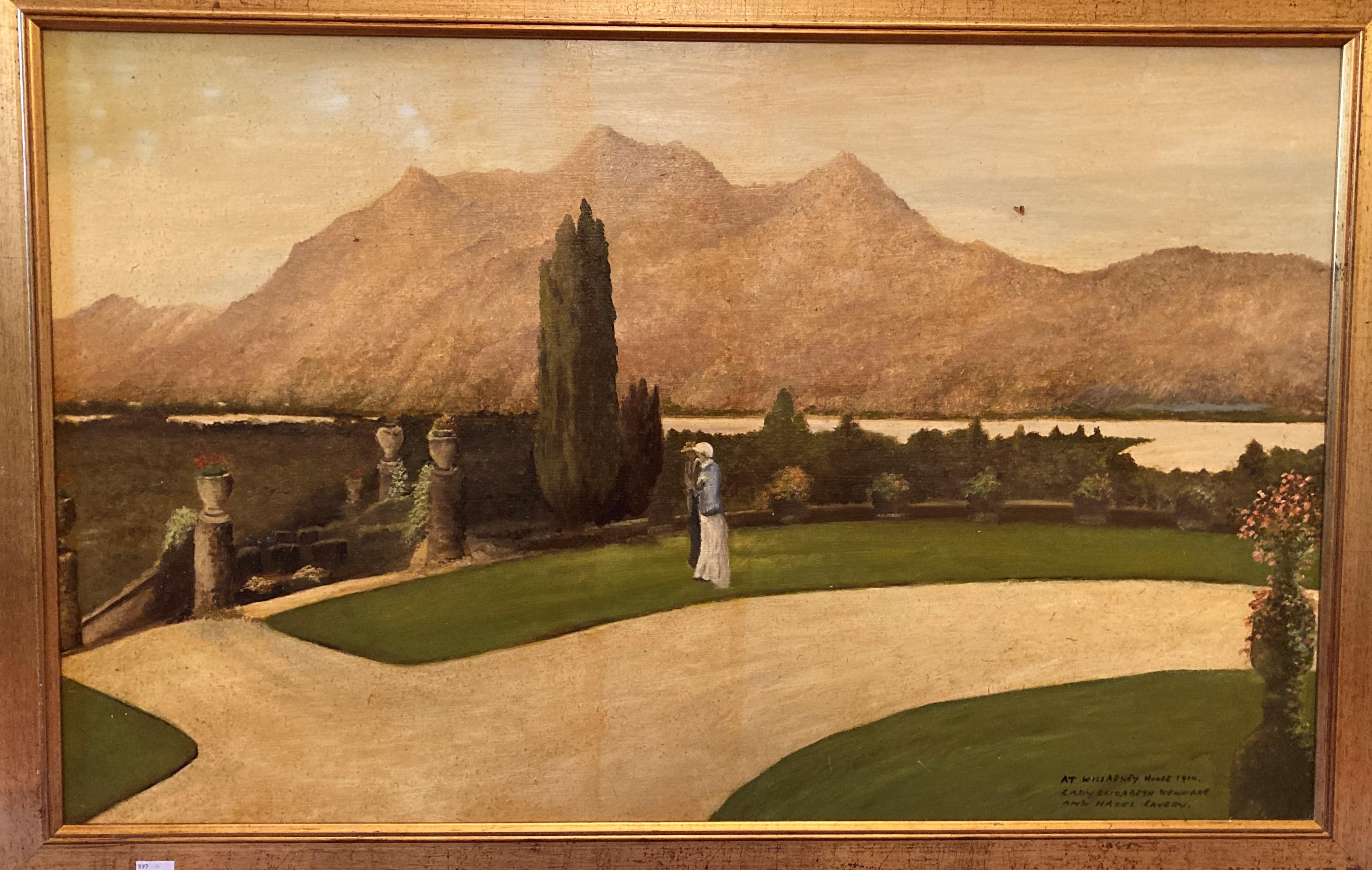 """20th Century Irish School """"At Killarney House 1910, Lady Elizabeth Kenmare and Hazel Lavery,"""" O.O."""