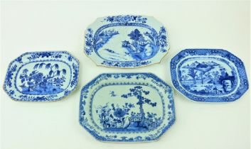 A rectangular Chinese blue and white Xianczchi porcelain Platter, of rectangular serpentine form,