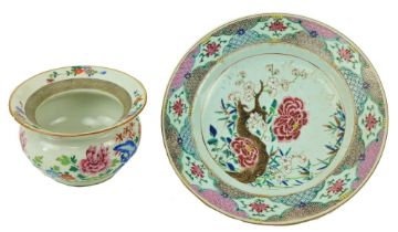 """A good 18th Century Chinese Famille Rose Dish, decorated with colourful flowers, 12"""" (31cms);"""