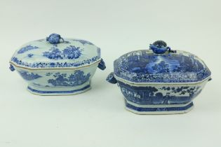 A Chinese blue and white Nankin Tureen and Cover, decorated with lake scene, with pomegranate finial