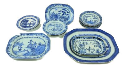 A large blue and white Platter, of rectangular form, decorated with river landscape and pagodas,