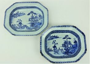 A pair of 18th Century Chinese blue and white Nankin Serving Bowls, each of rectangular form with