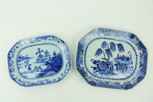 """A Kangxi blue and white Chinese porcelain Platter, with willow tree design, 16"""" (41cms), and another"""