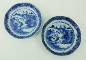 A pair of Kangshi blue and white Chinese porcelainÿDishes, each decorated with figures and
