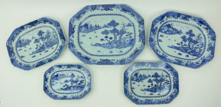 A fine set of 5 rectangular graduating Nankin Chinese porcelain blue and whiteÿMeat Platters,